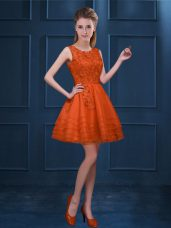 Suitable Orange Red Tulle Zipper Scoop Sleeveless Knee Length Court Dresses for Sweet 16 Lace and Ruffled Layers