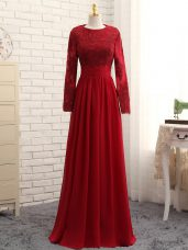Noble Wine Red Long Sleeves Floor Length Lace and Appliques Zipper Mother of Bride Dresses