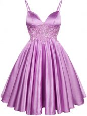 Lilac Elastic Woven Satin Lace Up Spaghetti Straps Sleeveless Knee Length Dama Dress for Quinceanera Lace