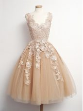 Brown Lace Up Court Dresses for Sweet 16 Appliques Sleeveless Knee Length