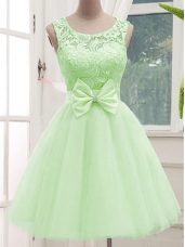 Yellow Green Sleeveless Tulle Lace Up Quinceanera Court Dresses for Prom and Party and Wedding Party