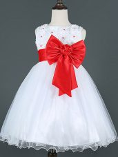 Knee Length White Flower Girl Dresses Scoop Sleeveless Zipper