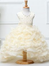 Organza Halter Top Sleeveless Zipper Beading and Ruffles Kids Formal Wear in Champagne