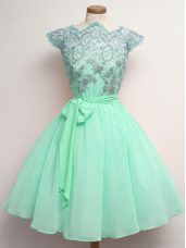 Graceful A-line Bridesmaid Gown Apple Green Scalloped Chiffon Cap Sleeves Knee Length Lace Up