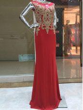 Scoop Sleeveless Zipper Prom Dress Red Chiffon