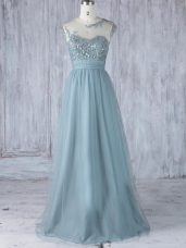 Beautiful Scoop Cap Sleeves Damas Dress Floor Length Appliques Grey Tulle