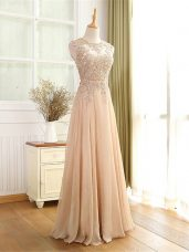 Champagne Chiffon Zipper Scoop Sleeveless Floor Length Prom Party Dress Beading and Appliques