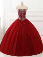 Colorful Wine Red Sleeveless Tulle Lace Up Quince Ball Gowns for Military Ball and Sweet 16 and Quinceanera