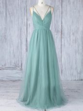 Sexy V-neck Sleeveless Tulle Wedding Party Dress Appliques Criss Cross