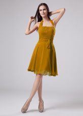 Best Halter Top Sleeveless Chiffon Mother Dresses Ruching Zipper