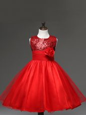 Graceful Sleeveless Tulle Knee Length Zipper Little Girls Pageant Dress Wholesale in Red with Sequins and Hand Made Flower