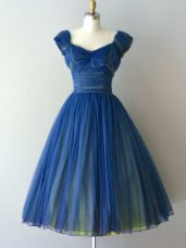 Fancy Blue V-neck Neckline Ruching Dama Dress for Quinceanera Cap Sleeves Lace Up