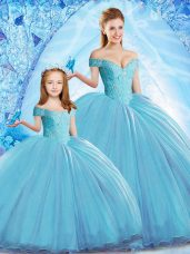 Great Off The Shoulder Sleeveless Quince Ball Gowns Sweep Train Beading Baby Blue Organza