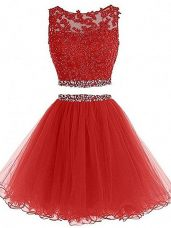 Red Tulle Zipper Prom Dresses Sleeveless Mini Length Beading