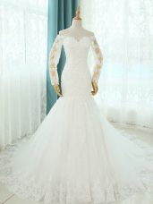 Glittering White Sleeveless Beading and Appliques Lace Up Wedding Gowns