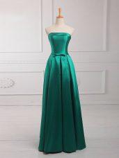 Sleeveless Floor Length Belt Lace Up Wedding Guest Dresses with Dark Green