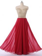 Red Sleeveless Beading Floor Length Dress for Prom