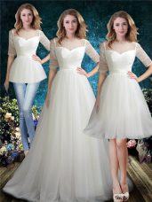 High Quality White Wedding Dresses Wedding Party with Beading Scoop Half Sleeves Brush Train Lace Up