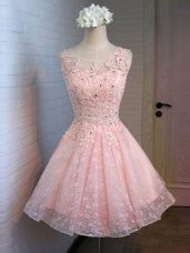 Fashion Lace Scoop Sleeveless Lace Up Lace and Appliques Homecoming Dress in Pink