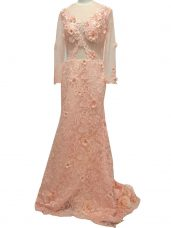 Peach Tulle Side Zipper Mother of Groom Dress Long Sleeves Brush Train Beading and Hand Made Flower