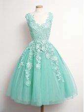 Aqua Blue A-line V-neck Sleeveless Tulle Knee Length Lace Up Appliques Bridesmaid Gown