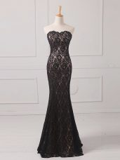 Black Empire Lace Mother of Groom Dress Zipper Lace Sleeveless Floor Length