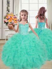 Superior Sleeveless Beading and Ruffles Lace Up Girls Pageant Dresses