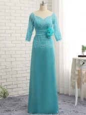 Baby Blue Zipper Mother Dresses Lace and Appliques 3 4 Length Sleeve