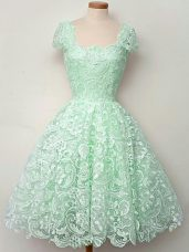 A-line Bridesmaid Dresses Apple Green Straps Lace Cap Sleeves Knee Length Lace Up