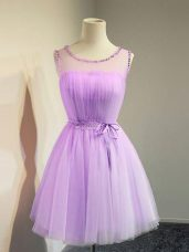Cute Scoop Sleeveless Lace Up Dama Dress for Quinceanera Lavender Tulle