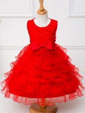 Sleeveless Zipper Tea Length Ruffled Layers and Bowknot Little Girl Pageant Gowns