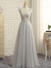 Modest Straps Sleeveless Tulle Quinceanera Dama Dress Lace Sweep Train Zipper