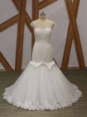 Comfortable White Lace Up Scoop Beading and Appliques Wedding Dress Tulle Cap Sleeves Brush Train
