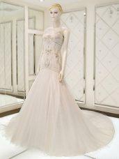White V-neck Neckline Beading Wedding Dress Sleeveless Side Zipper
