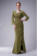 Chiffon Straps Sleeveless Zipper Beading Mother of Bride Dresses in Olive Green