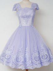 Knee Length A-line Cap Sleeves Lavender Quinceanera Court of Honor Dress Zipper