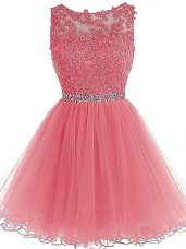 Pink Zipper Scoop Beading and Lace and Appliques and Ruffles Homecoming Dress Tulle Sleeveless