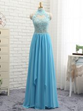 High End Halter Top Sleeveless Backless Prom Dresses Baby Blue Chiffon
