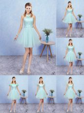 A-line Wedding Guest Dresses Aqua Blue Halter Top Tulle Cap Sleeves Mini Length Lace Up