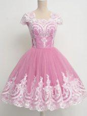 Low Price Knee Length Rose Pink Bridesmaid Dresses Square Cap Sleeves Zipper