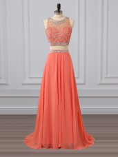 Watermelon Red Sleeveless Brush Train Beading Prom Dress