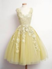 V-neck Sleeveless Lace Up Dama Dress for Quinceanera Gold Tulle