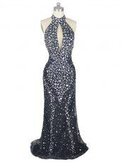 Top Selling Halter Top Sleeveless Tulle Prom Party Dress Beading Brush Train Zipper