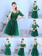 V-neck Half Sleeves Backless Vestidos de Damas Green Tulle
