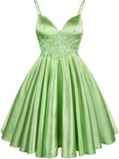 Suitable Green Lace Up Court Dresses for Sweet 16 Lace Sleeveless Knee Length