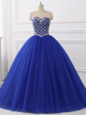 Sleeveless Floor Length Beading Lace Up Sweet 16 Quinceanera Dress with Royal Blue
