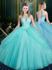 Beading and Pick Ups Quinceanera Gown Aqua Blue Lace Up Sleeveless Floor Length