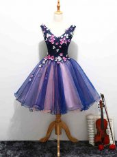 Organza V-neck Sleeveless Lace Up Lace and Appliques and Hand Made Flower Homecoming Dresses in Multi-color