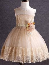 Knee Length Zipper Pageant Gowns For Girls Champagne and In with Lace and Hand Made Flower