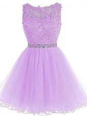 Dramatic Lavender Zipper Dress for Prom Beading and Lace and Appliques Sleeveless Mini Length
